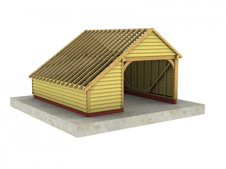 1 Bay Garage With Integral Log Store And Gable Roof