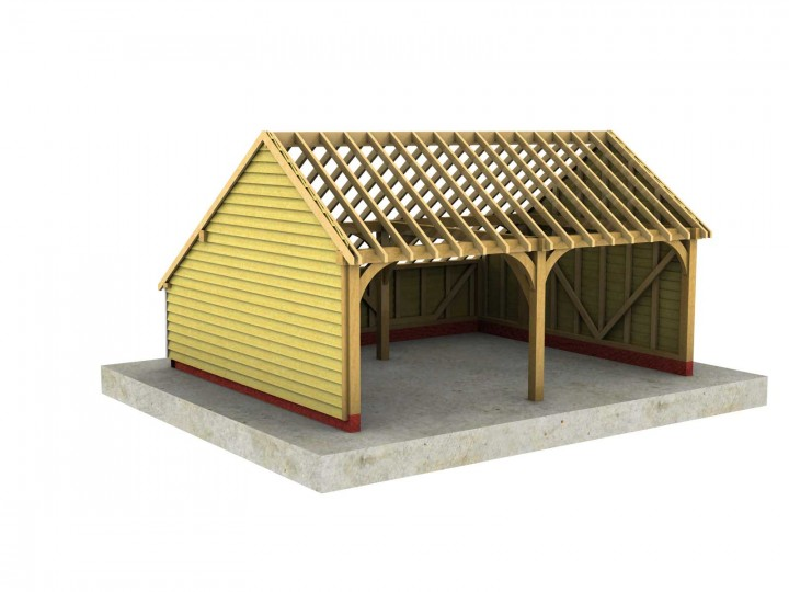 2 bay a depth garage with gable roof for Gable roof garage