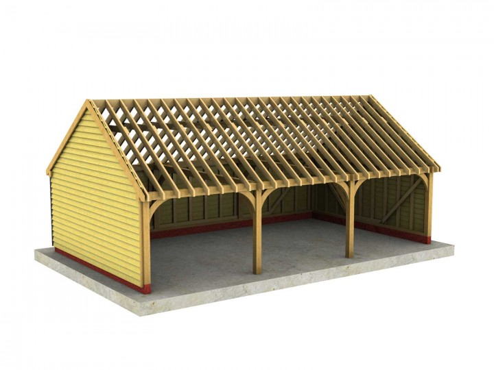 3 Bay C Depth Garage With Gable Roof
